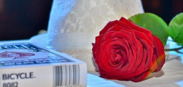 Palarie de magician, trandafir si pachet de carti. Magie evenimente