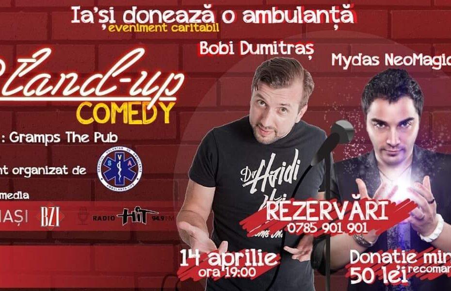 Afis eveniment stand-up comedy si magie cu Bobi Dumitras si magicianul Mydas